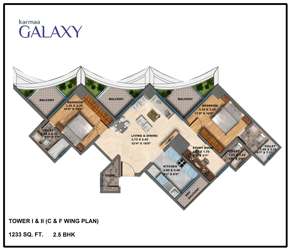 Tower C F Wing Plan .BHK