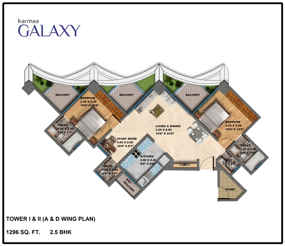Tower A D Wing Plan Bhk
