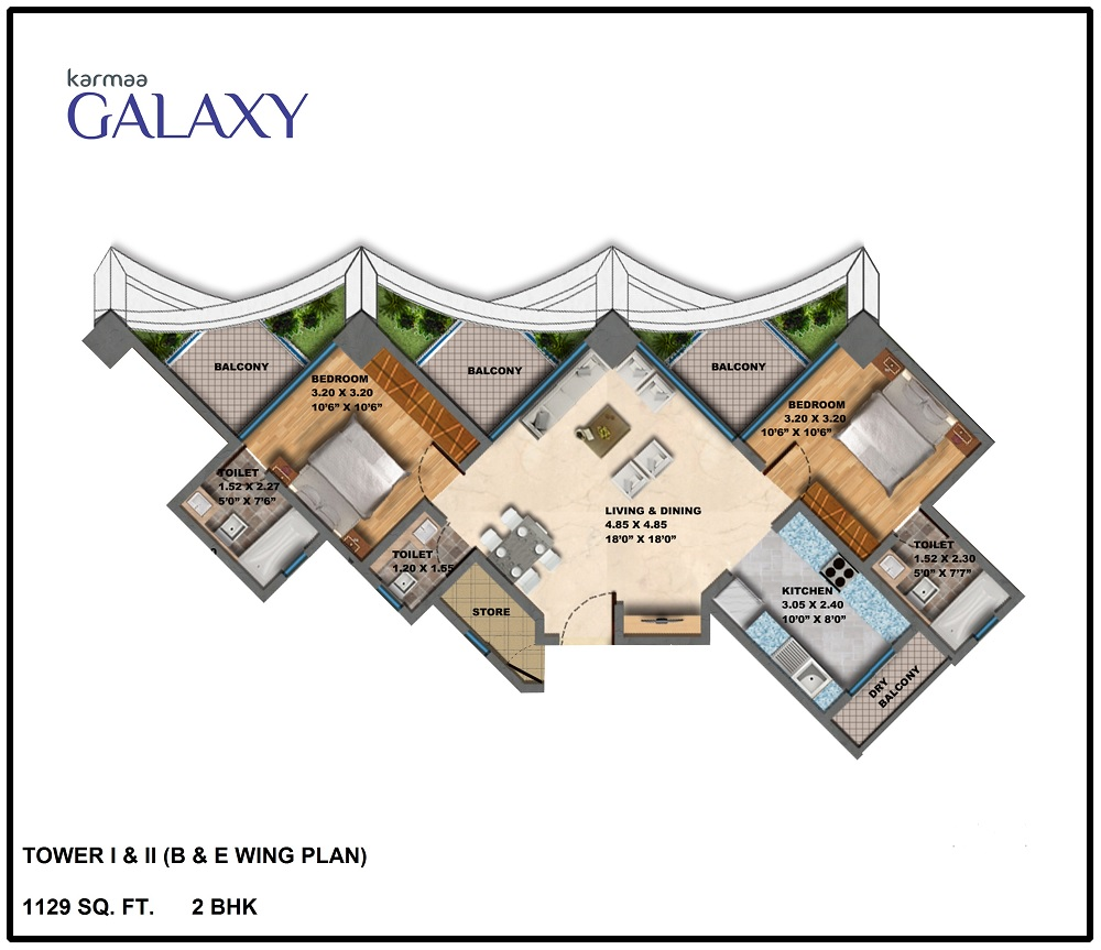 Tower B E Wing Plan BHK