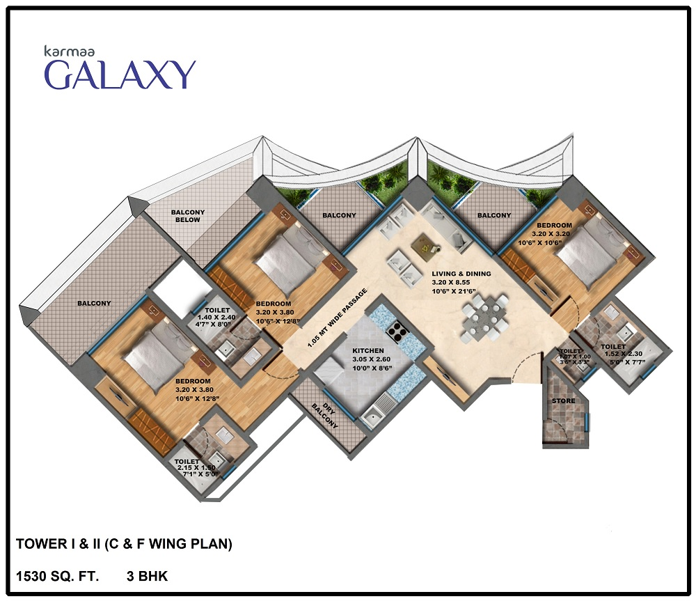 Tower C F Wing Plan BHK