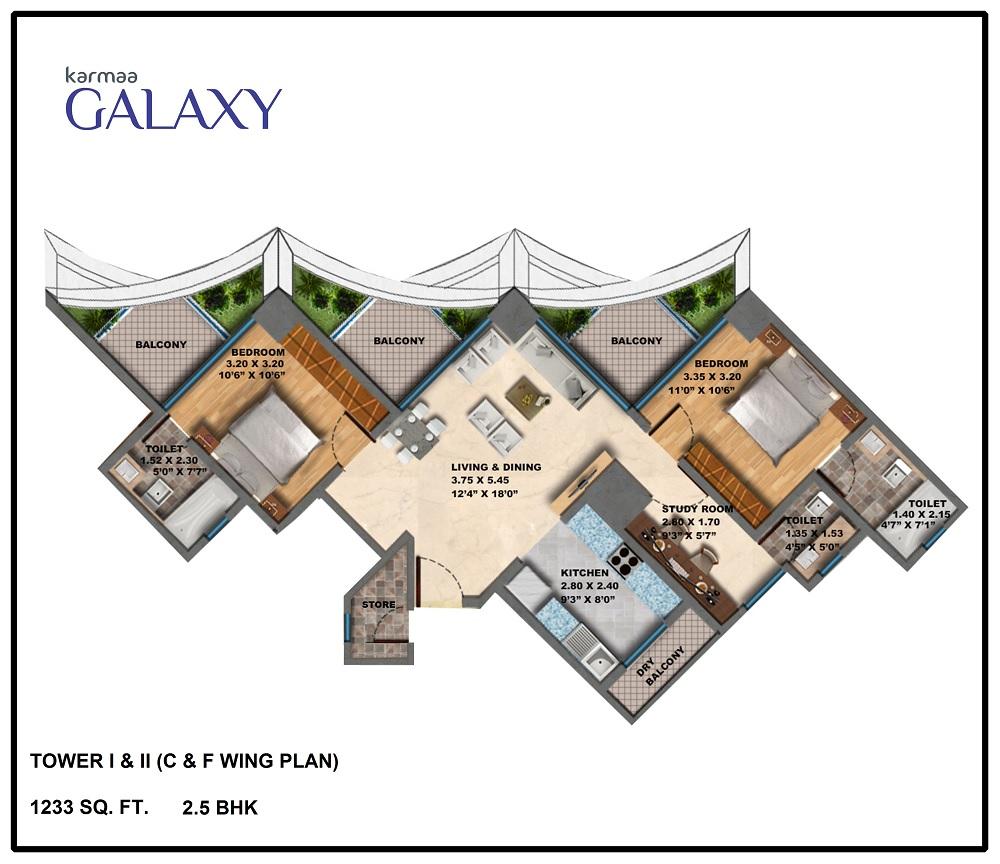 Tower C F Wing Plan .BHK